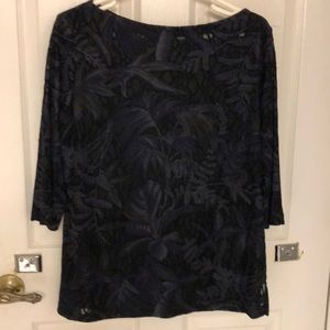Carole Little Sheer Black Pattern Top